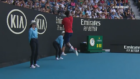 Gael Monfils nearly leaps into the stands chasing an opponent's smash