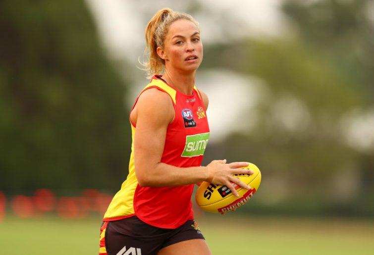 Leah Kaslar handles the football.