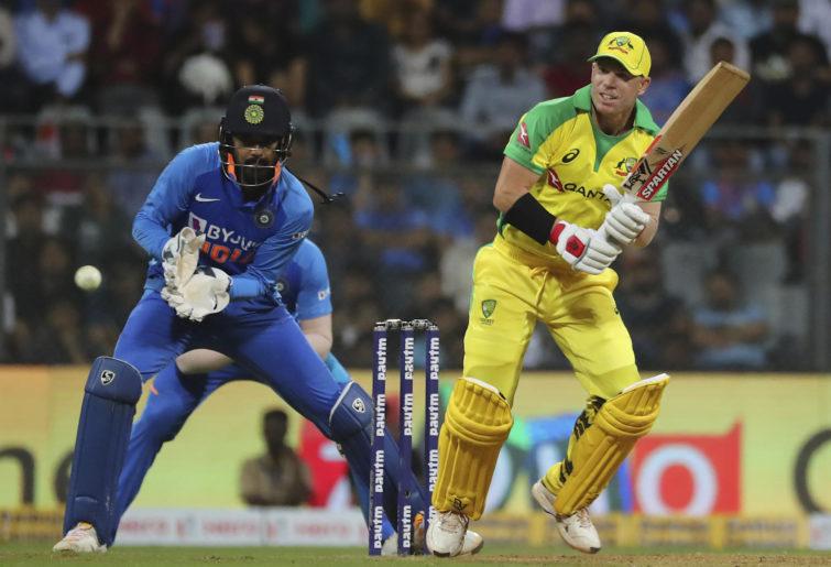 David Warner bats against India