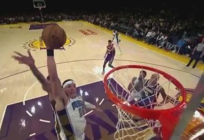 Aaron Gordon incredibly throws the ball to himself off the backboard for epic dunk