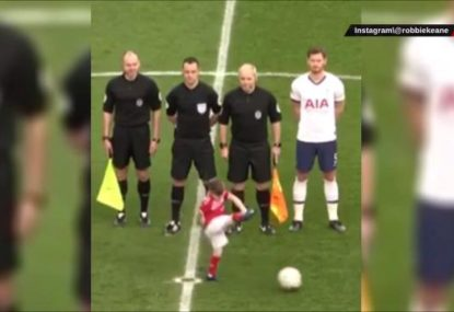 Spurs champion's son pinches ball from kickoff- and scores!