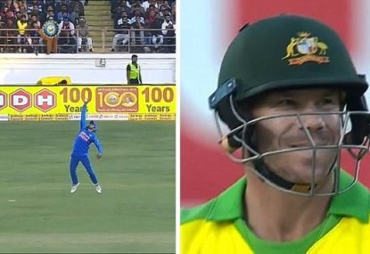 Even David Warner had to smile after falling to Indian's simply stunning one-hander