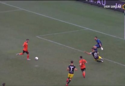 'He's butchered it!' Roar midfielder produces probably the miss of the A-League season