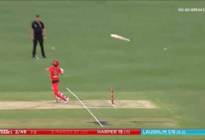 Shaun Marsh sends his bat further than the ball in embarrassing dismissal