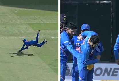 Virat Kohli takes a bow after removing Marnus Labuschagne with stunning catch