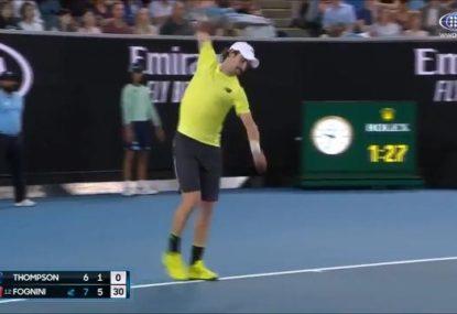 Aussie Jordan Thompson annihilates a racquet in thrilling five-set loss