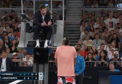 'Are you stupid?' Kyrgios blows up at chair umpire after copping contentious time violation
