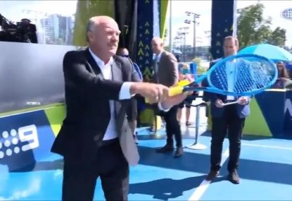 Wally Lewis' hilariously terrible go at the Aus Open's Fastest Serve challenge