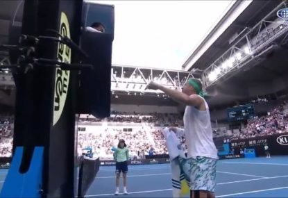 American blows a gasket at chair umpire after opponent avoids penalty for storming off court