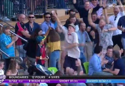 Former first-class cricketer's all-time crowd catch celebration during bucks party