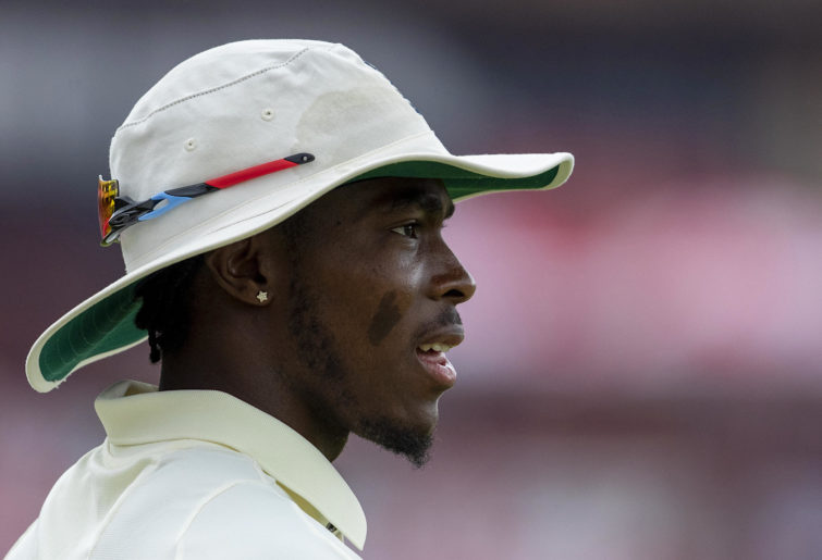 Jofra Archer looks on