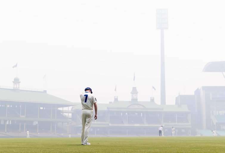 The SCG shrouded in bushfire smoke