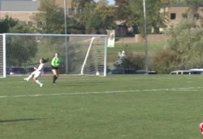 Striker gets hilariously falconed by keeper's clearing kick
