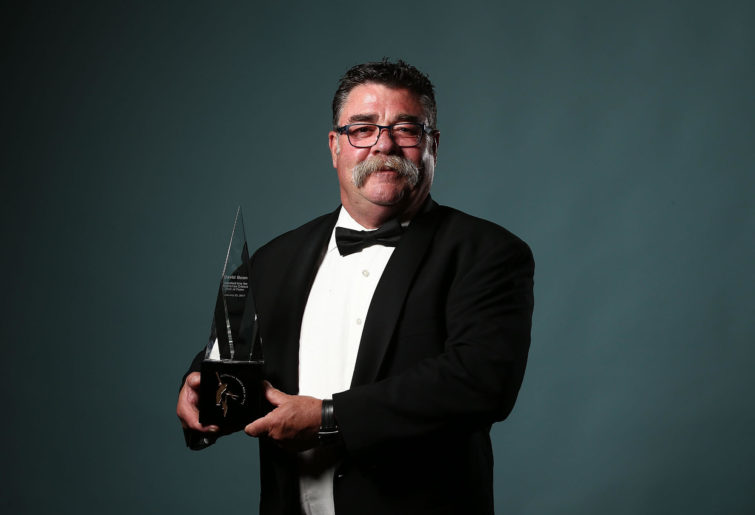 David Boon poses after being inducted into the Australian Cricket Hall of Fame