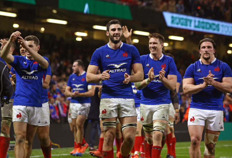France's flanker Charles Ollivon (C) and teammates celebrate their win in the Six Nations international rugby union match