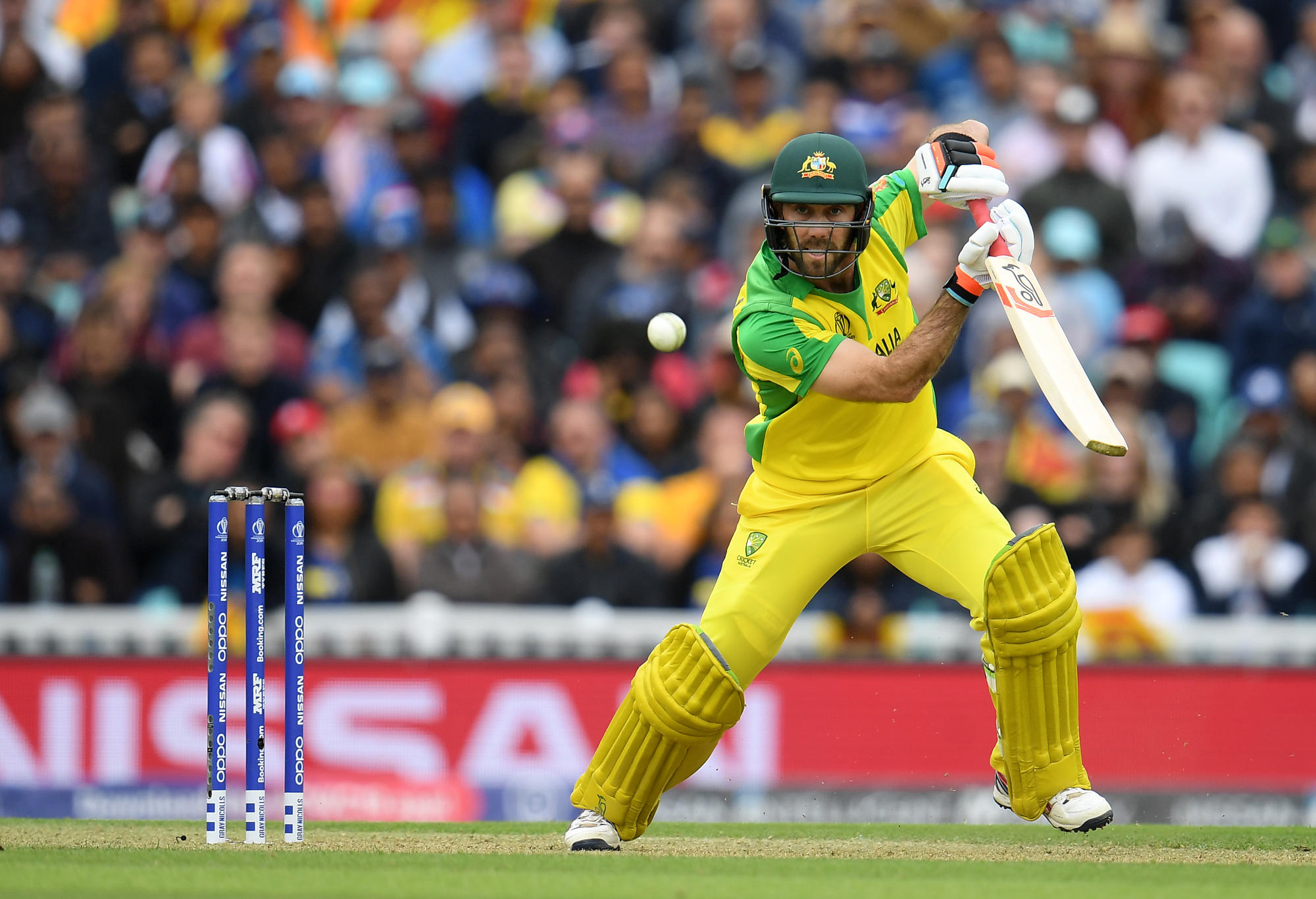 Glenn Maxwell of Australia plays a shot