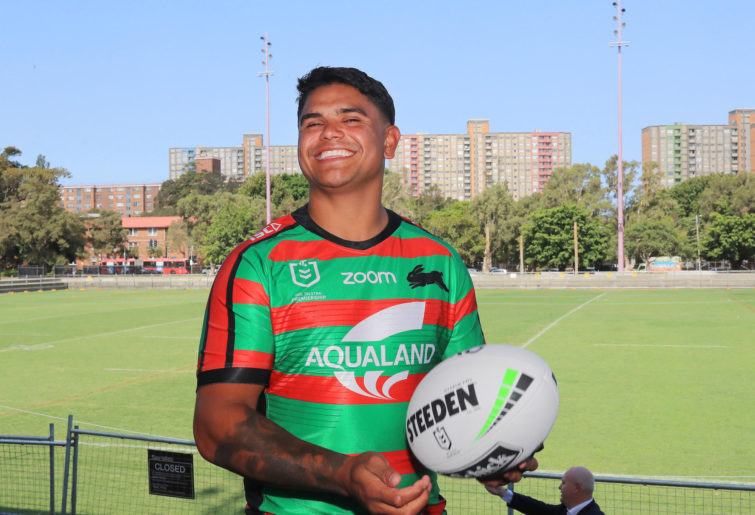 Latrell Mitchell poses for photographs after a South Sydney Rabbitohs NRL press conference