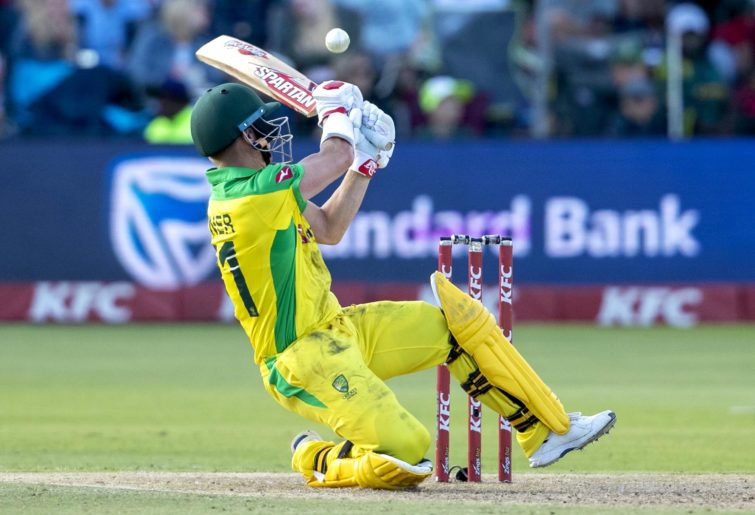 David Warner attempts a reverse swing.