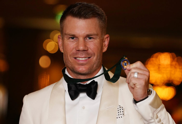 David Warner with the Allan Border Medal