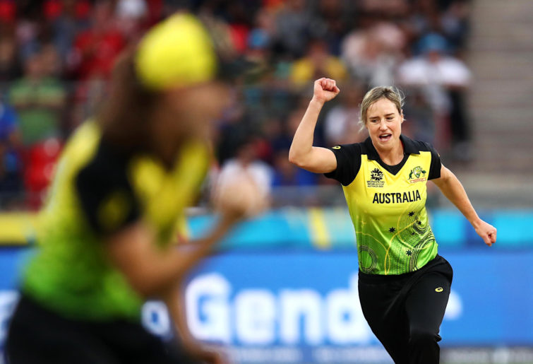 Ellyse Perry celebrates taking a wicket