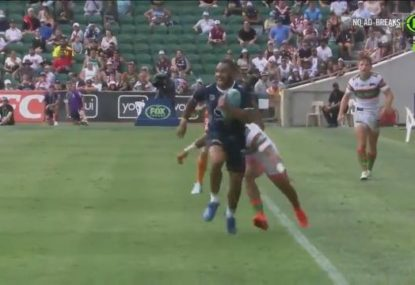 Cowboys rising star stuns Rabbitohs with one of the individual tries of the tournament