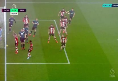 Burnley score after Southampton's major miscommunication blunder at the back