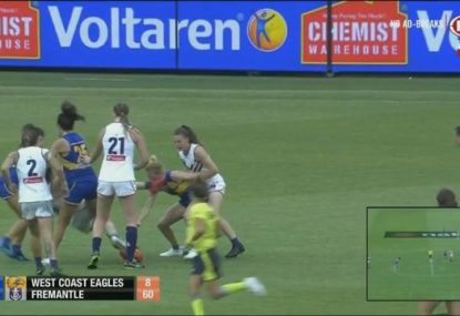 West Coast's Dana Hooker cops nasty boot to face in the first AFLW Derby