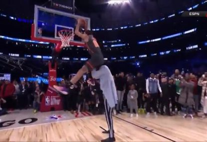 'That ain't right': NBA dunk contest ends in controversy after monster leap over 226cm giant... loses