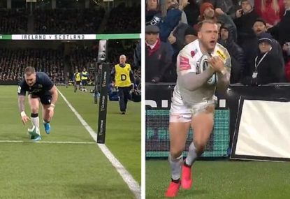 Stuart Hogg's hilarious try-scoring technique for Exeter after series of recent fumbles