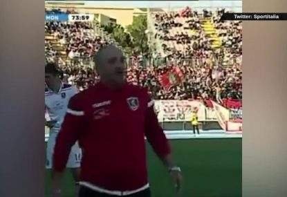 Serie D coach gets sent off for belting his own player