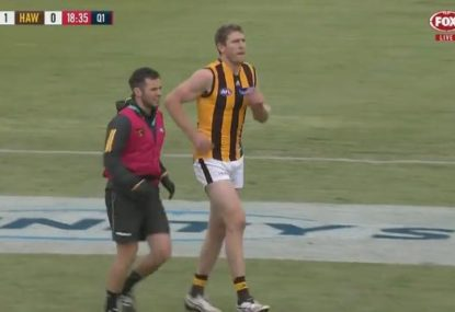 Ben McEvoy sends scare through Hawks camp in pre-season match