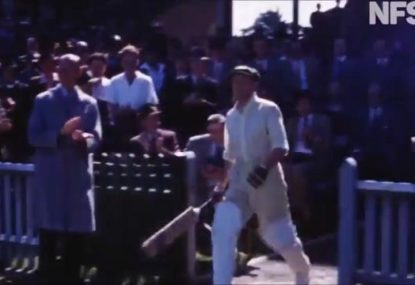 The only known colour footage of Don Bradman batting has just been made publicly available