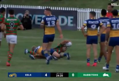 Matty Johns' son scores first try for Rabbitohs in promising pre-season showing