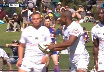 Sharks winger bizarrely stops himself from scoring a hat-trick by randomly gifting teammate a try