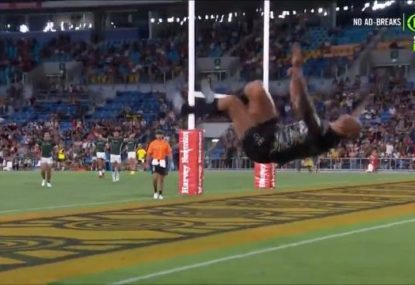 'It defies gravity!' Blake Ferguson drops jaws by celebrating try... with a backflip!