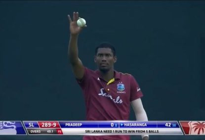 Windies bowler hands Sri Lanka one-wicket win with embarrassing error