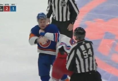 New York Islander gets into a fight on debut while defending a teammate after massive hit