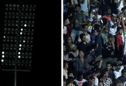 Sri Lankan fans' hilarious attempt to help restart ODI after floodlight failure
