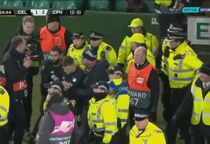 Copenhagen players briefly clash with police in Europa League win over Celtic