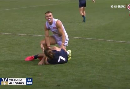 Patrick Cripps absolutely delighted after crunching tackle brings down the Bont