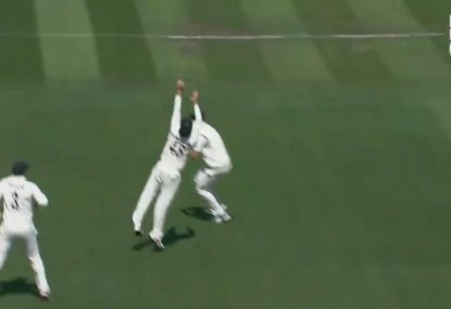 Tom Latham takes an absolute blinder in the slips to dismiss Indian opener