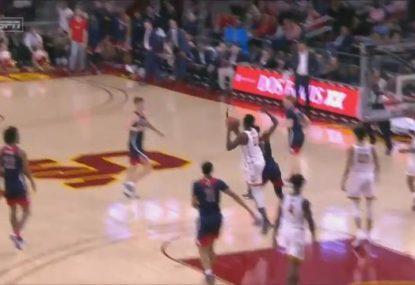 College basketballer nets an insane three-quarter court buzzer beater