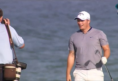 Extraordinary moment as golfer gets incredible lucky break from the world's kindest hazard