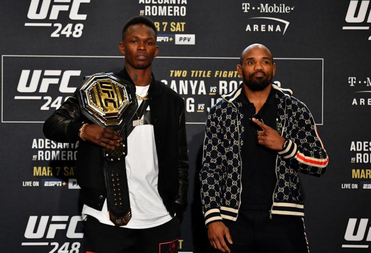 Israel Adesanya and Yoel Romero pose ahead of UFC 248.
