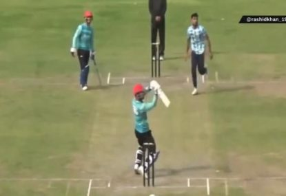 Rashid Khan invents new shot with this ridiculous six