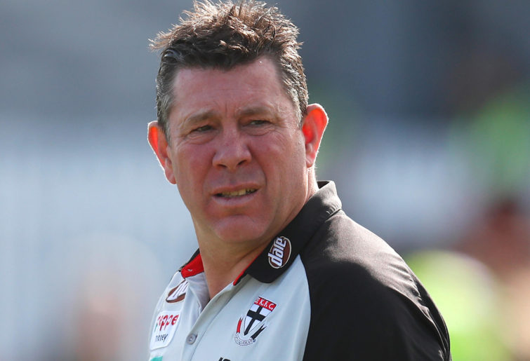 St Kilda coach Brett Ratten looks on