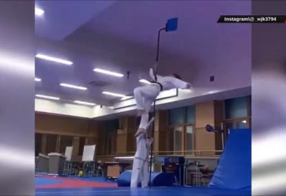 This physics-defying 4m high karate kick is genuinely insane