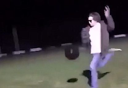 Local footballer decides to try kicking a medicine ball... and the result is predictable