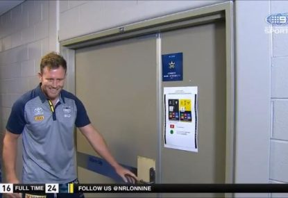 Gavin Cooper's priceless reaction after teammates lock him out of the rooms