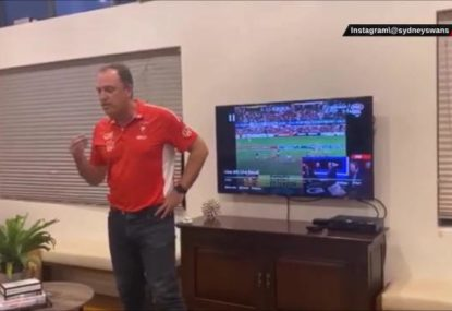 Swans coach John Longmire's stirring 'pre-match' address gets absolutely nothing from the family